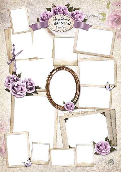 lilac rose collage design template collages for funeral
