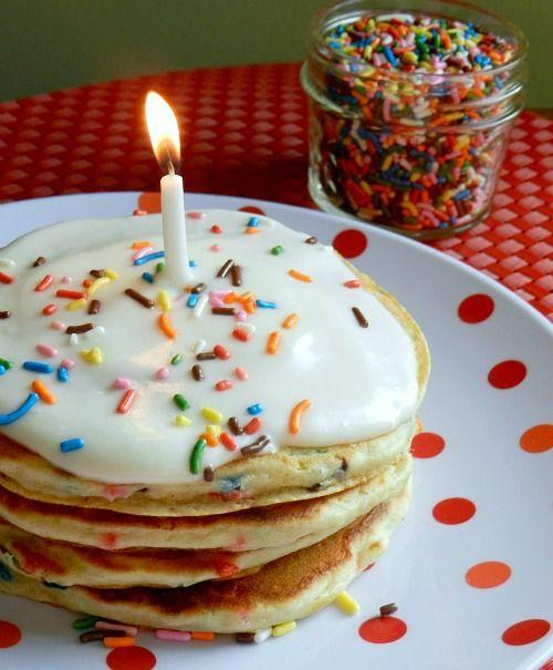 Homemade Birthday Cake Pancakes Baking and Sweets Pinterest