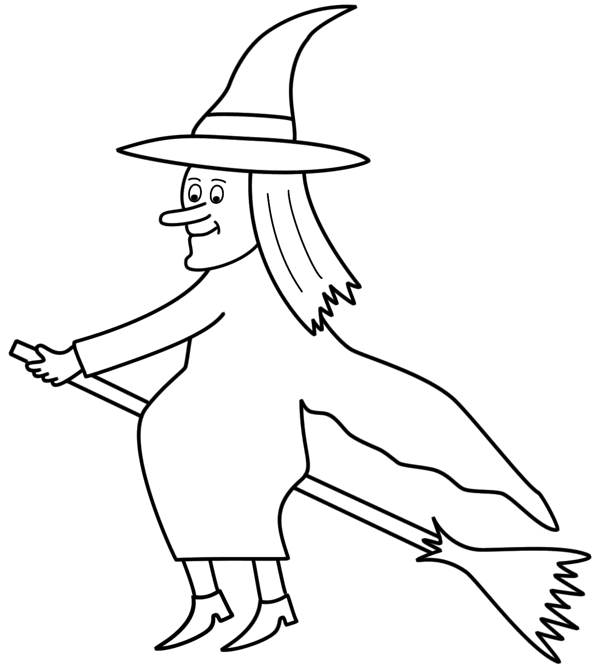 witch coloring pages | Witch Flying With Bats Coloring ...