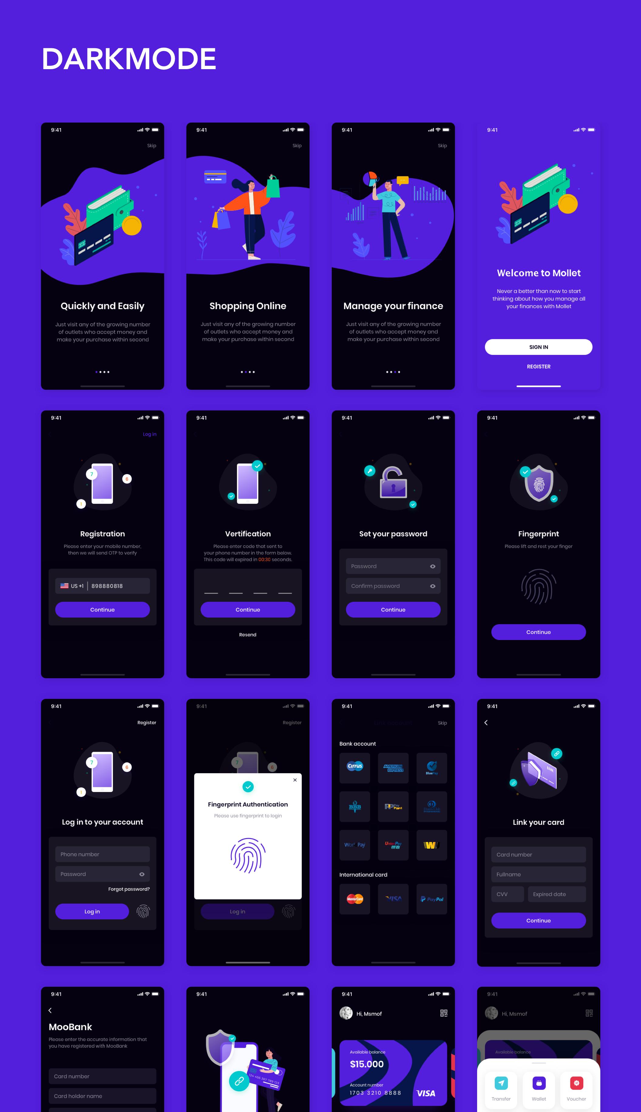 MOLLET - Wallet app UI Kit Wallet app UI Kit - Darkmode & Lightmode #Paid, #Wallet, #SPONSORED, #MOLLET, #app, #Kit