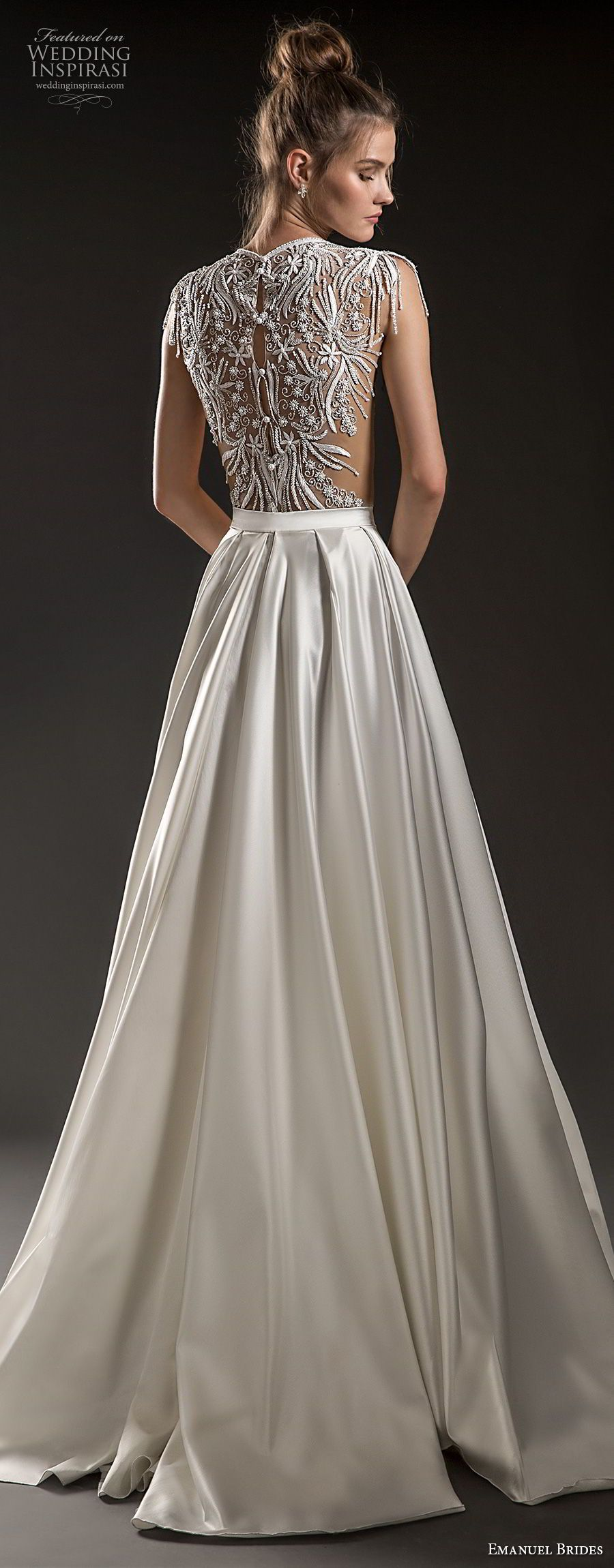Lace cap sleeve a line wedding dress  Emanuel Brides  Wedding Dresses  Satin skirt Bodice and Neckline