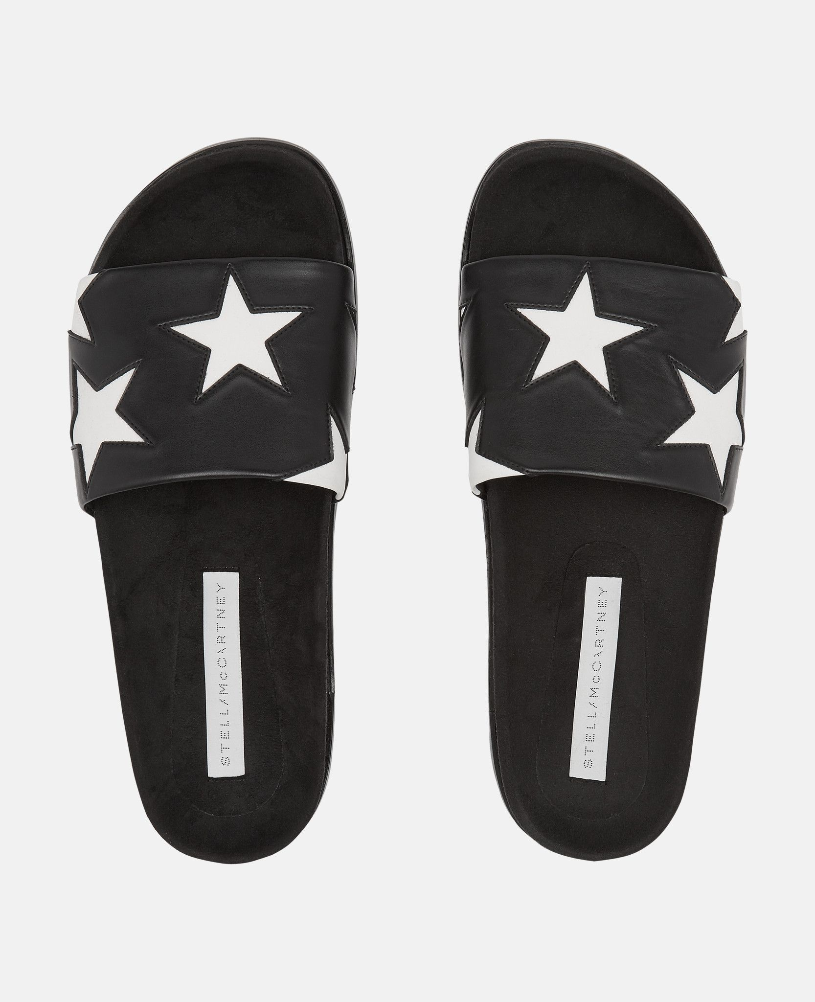 2b3ec2fb4333  Black   White Star Slides - Stella Mccartney 