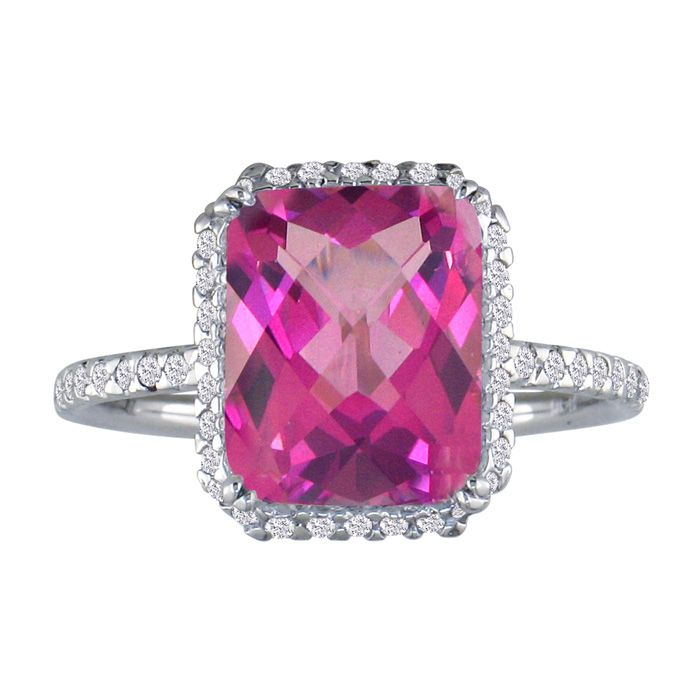 Fashionable 4ct Pink Topaz and Diamond Ring in 14k White Gold
