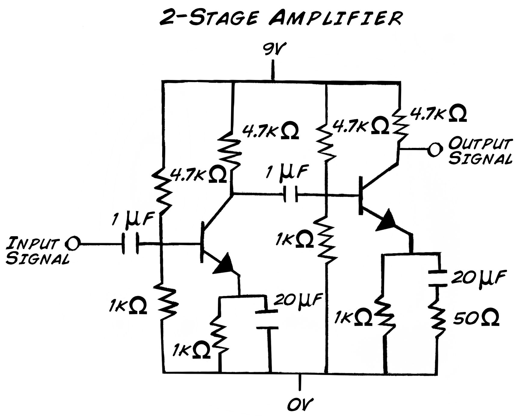 simple 3 transistor amplifier