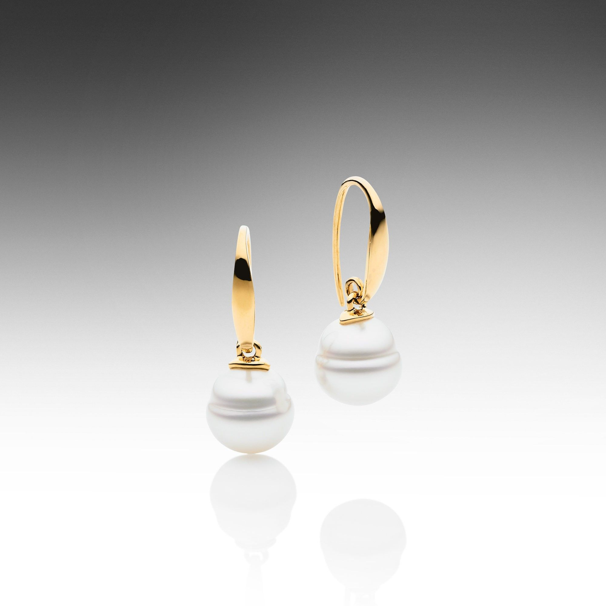 Paspaley Australian South Sea Pearl Earrings Featuring Two Circle Pearls Set In 750 Yellow Gold