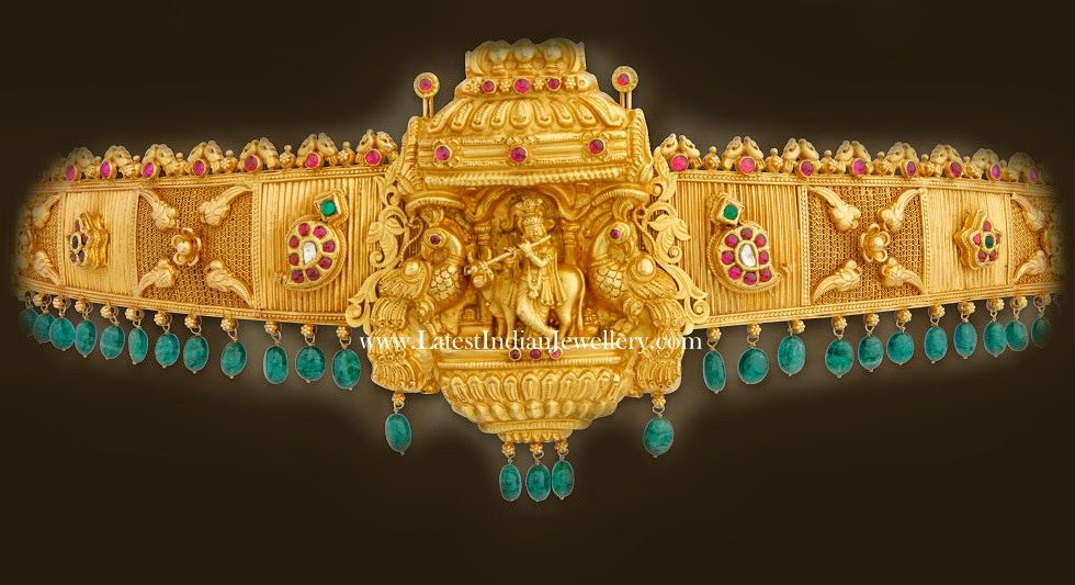 Artistic Antique Gold Waist Belt In Temple Design Artistic Antique Gold Waist Belt In Temple Design