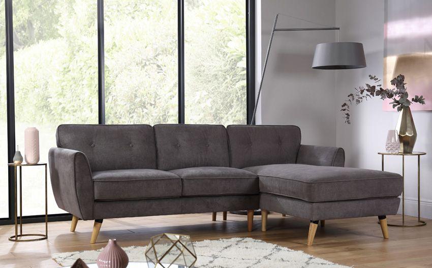 Harlow Slate Grey Fabric L Shape Corner Sofa Corner Sofa