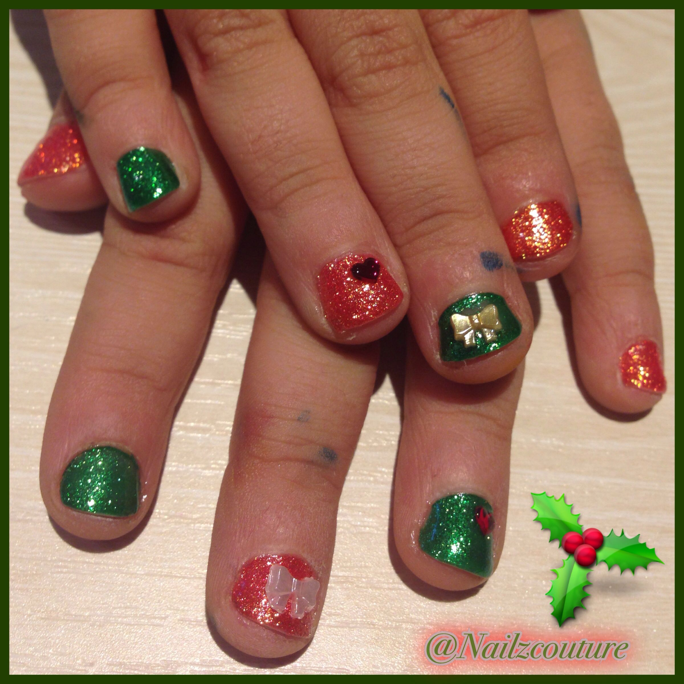 Kids christmas nails | My nail art all hand painted | Pinterest
