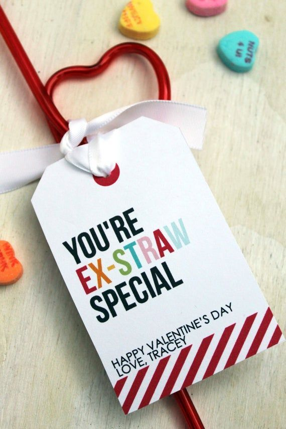 Printable Valentine's, You're Ex-Straw Special, Favor Tag, Punny Valentine's, Kid's Valentine's Day