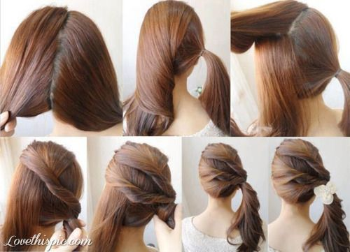 Diy Easy Ponytail Girly Cute Girl Pink Pretty Ponytail Diy Hairstyle Diy Projects Diy Craft Diy Ponytail Hair Styles Ponytail Hairstyles Easy Long Hair Styles