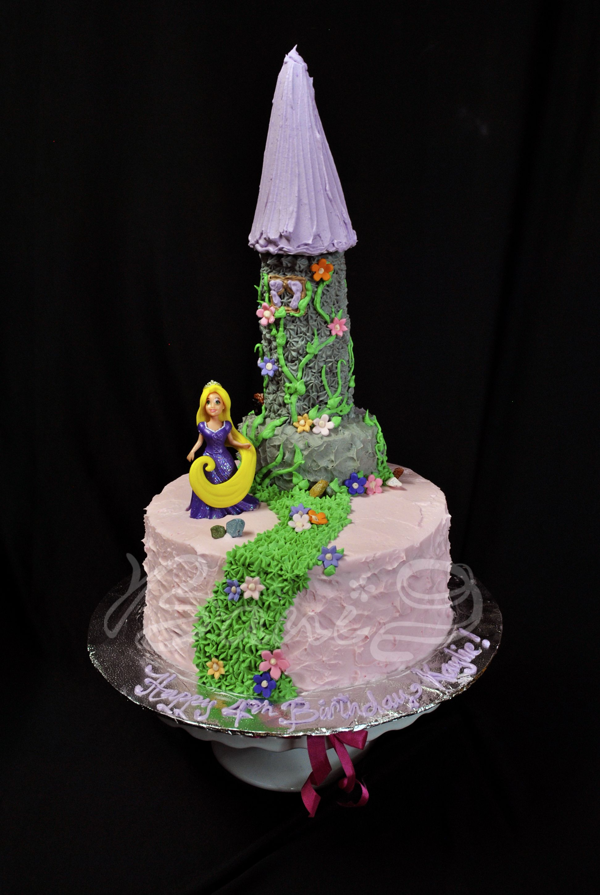 rapunzel castle and strawberry cake with fresh strawberry filling buttercream decoration tangled rapunzel castle princess cake for girl