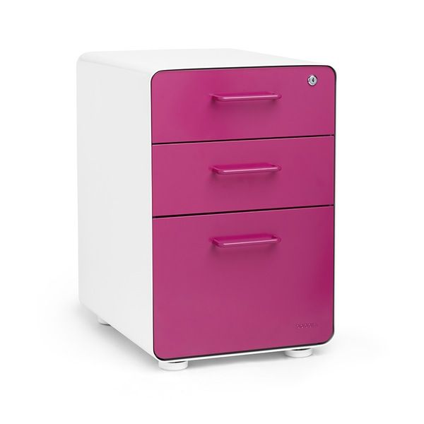 Stow 3 Drawer File Cabinet Pink Office Supplies Filing Cabinet Office Furniture Modern