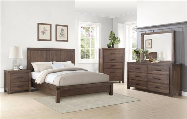 Lancashire Wire Brushed Cinnamon Wood 5pc Bedroom Set w/Cal King Bed