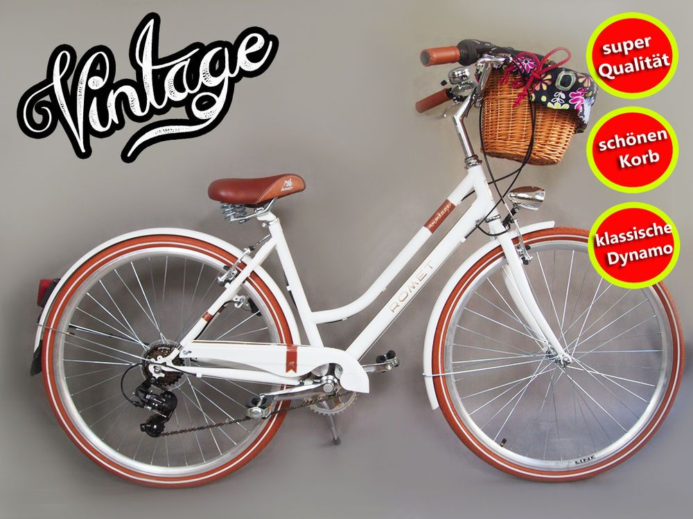 28 Zoll Damenfahrrad Vintage Citybike Cityrad Damenrad Dynamo Korb