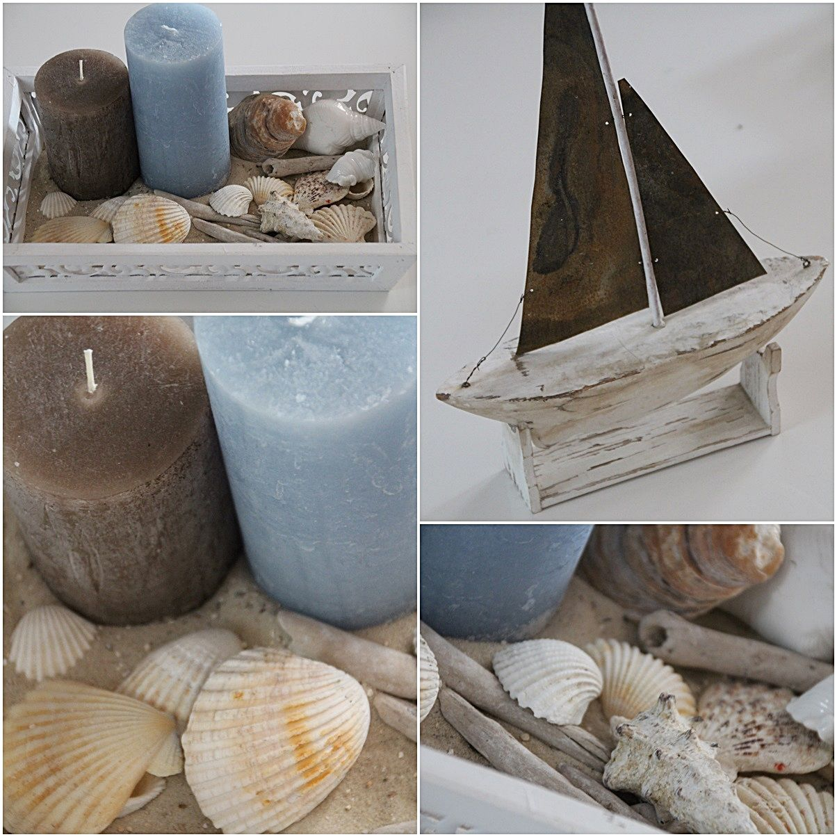 boat shell candle light blue maritim ocean beach. Black Bedroom Furniture Sets. Home Design Ideas