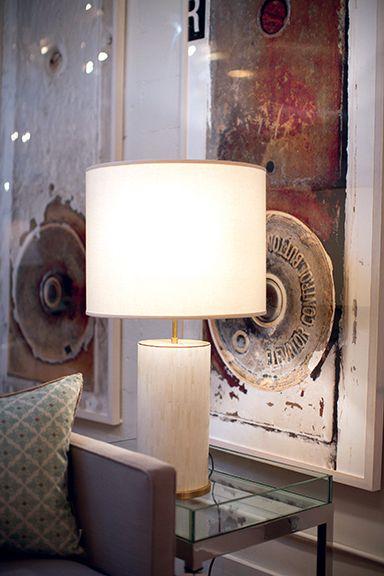 Aerin Lauderu0027s Eliot Table Lamp, Clad In Bone Tile, Epitomizes Rustic