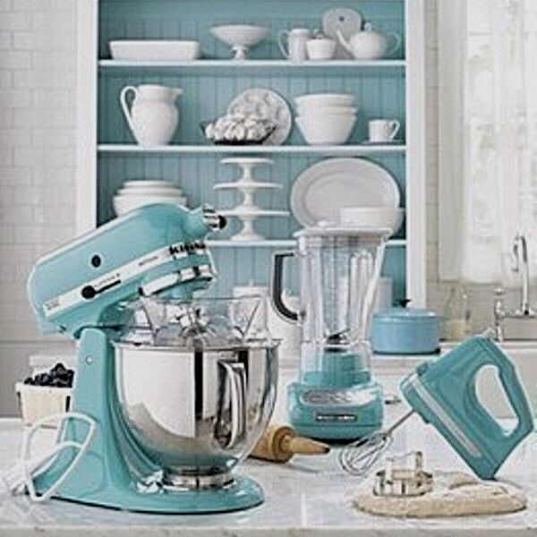 White Kitchen Aqua Accents tiffany blue kitchen i asked santa for this kitchen aid mixer
