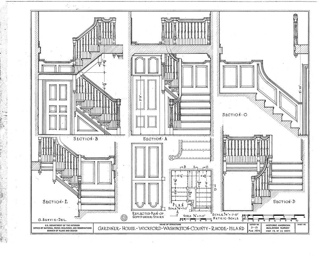 Stair Detail, Gardiner House, Wickford, RI