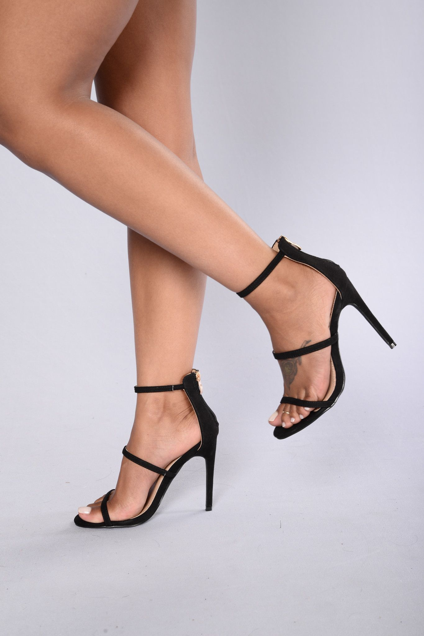 0be24296b Available in Black and Nude - Suede - Strappy - Open Open - Back Zipper -  4.25 inch heel