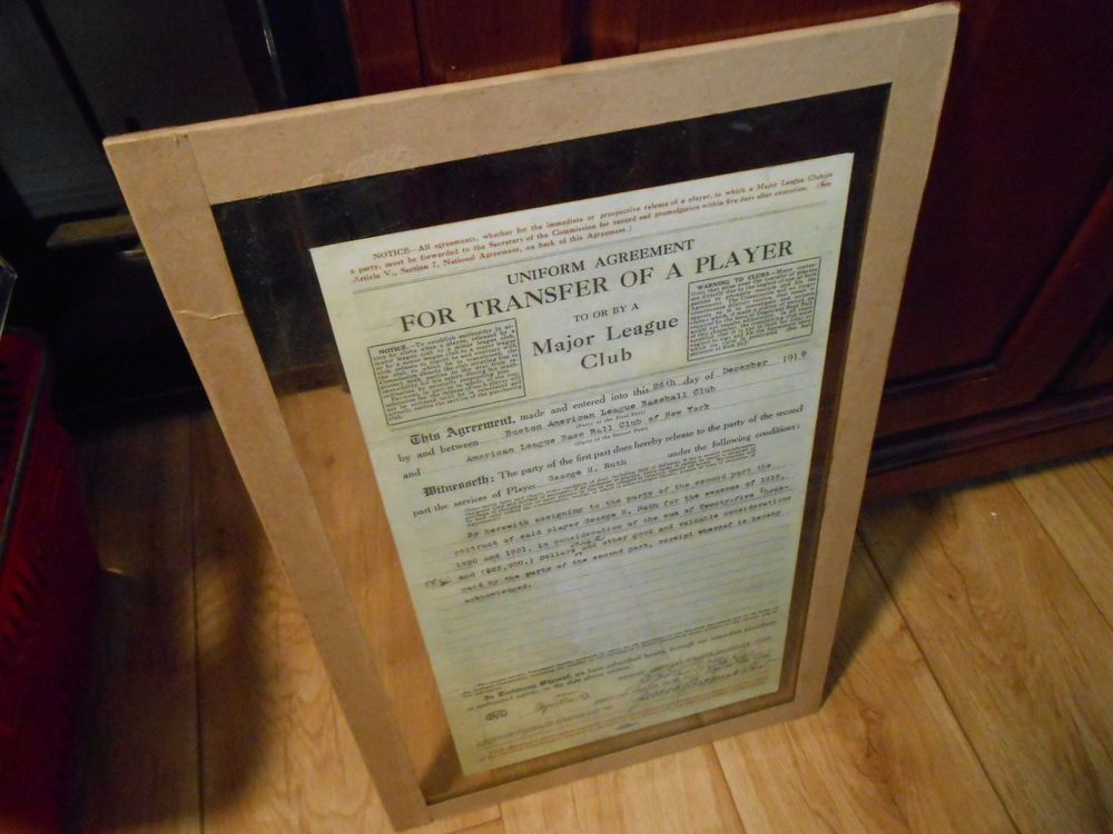 Reproduction Major League Club Transfer Agreement for Babe Ruth - transfer agreement