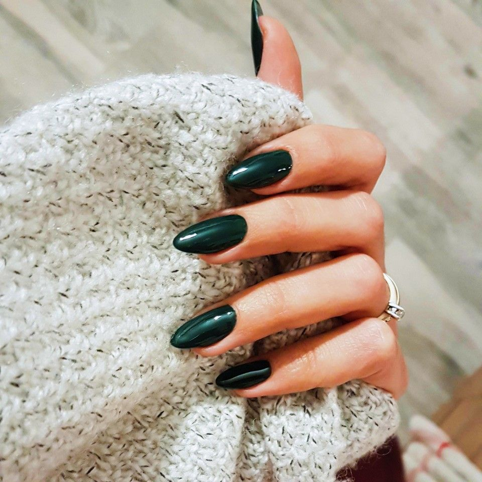 Rich green color, almond shaped simple nails | Fall nail ...
