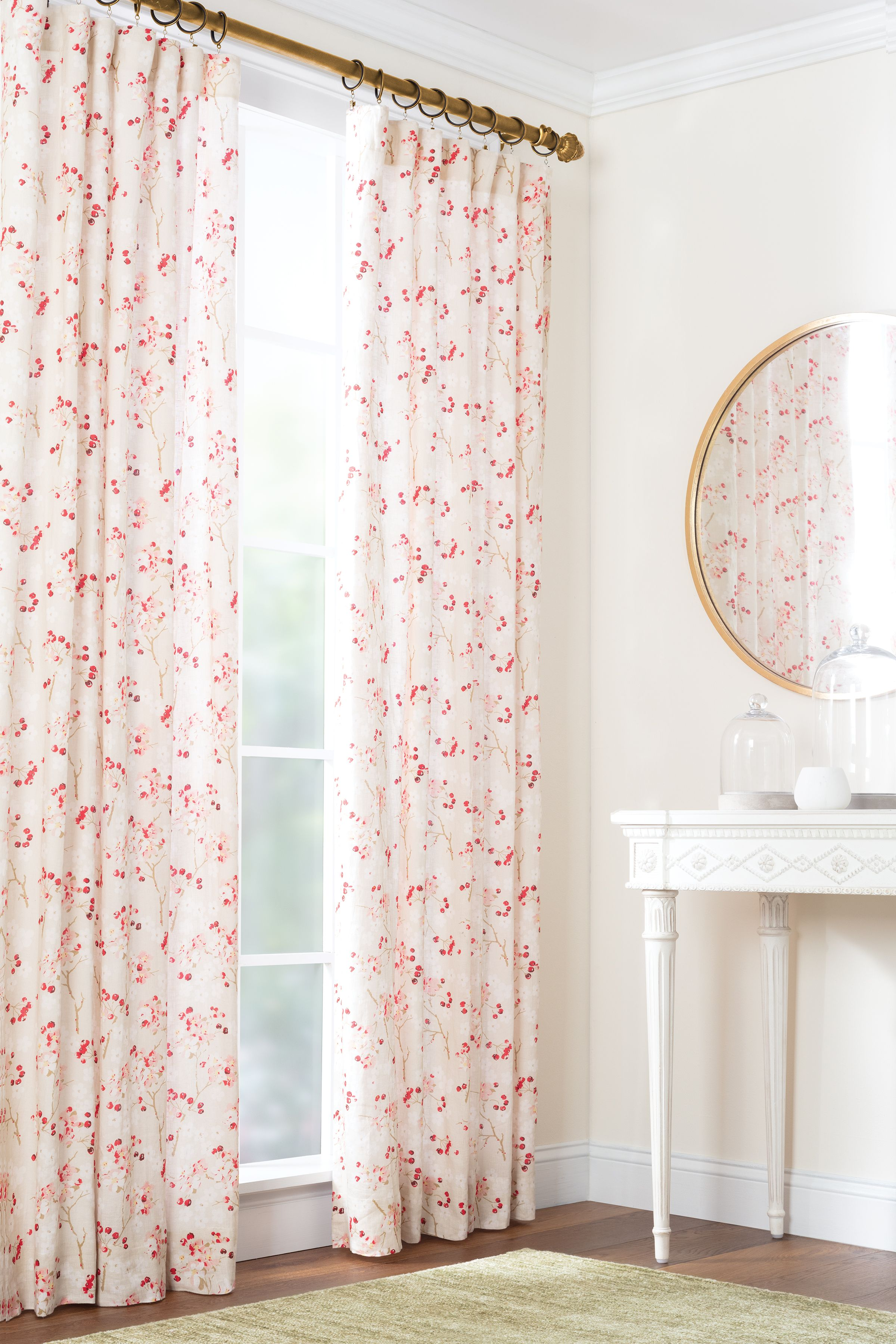Cherry Blossom Curtain Panel The Outlet Panel Curtains Curtains Printed Linen Fabric
