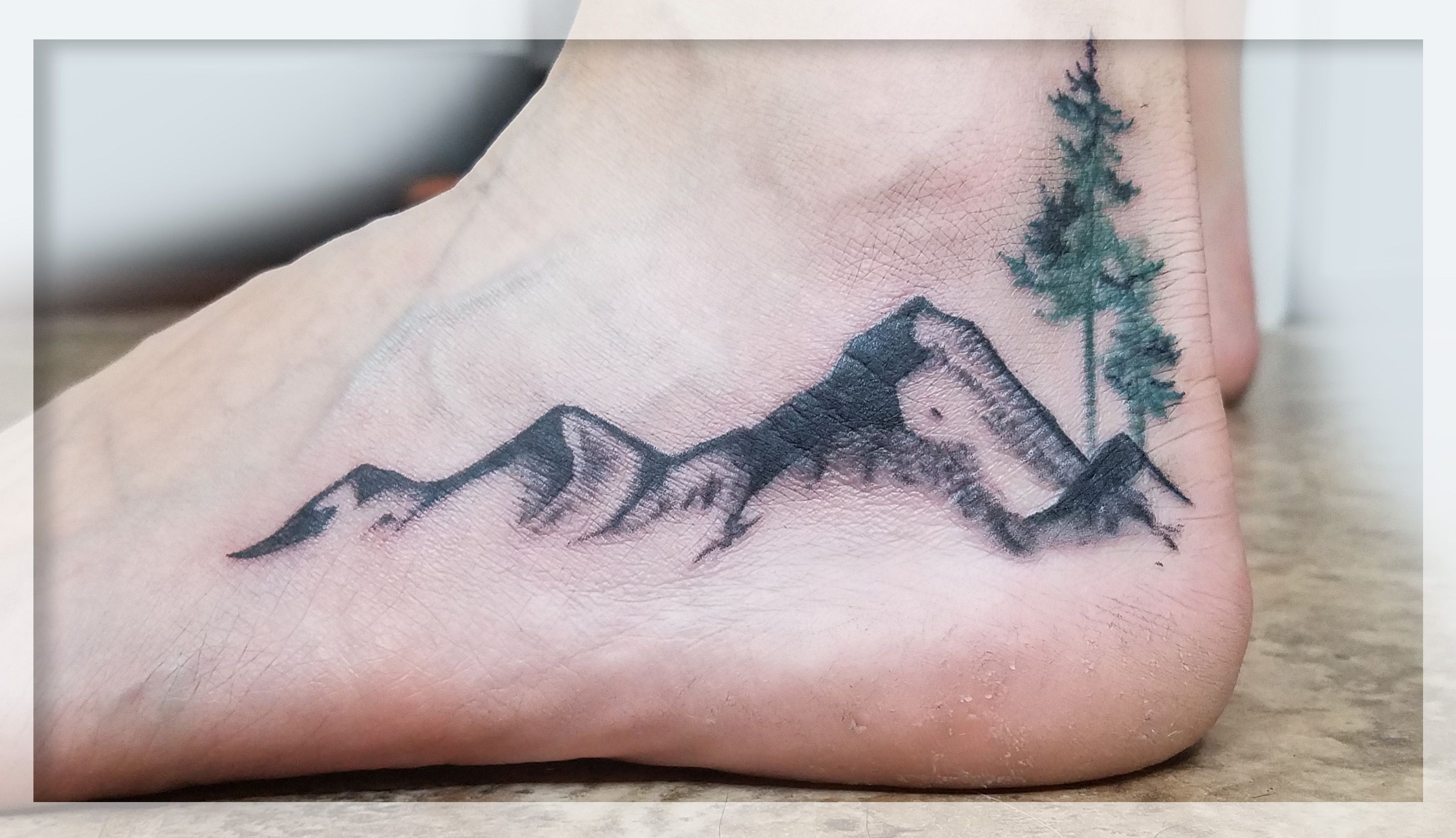 My Mountain And Tree Tattoo So I Will Always Be Walking In The Mountains Left Foot Tattoos Pinterest