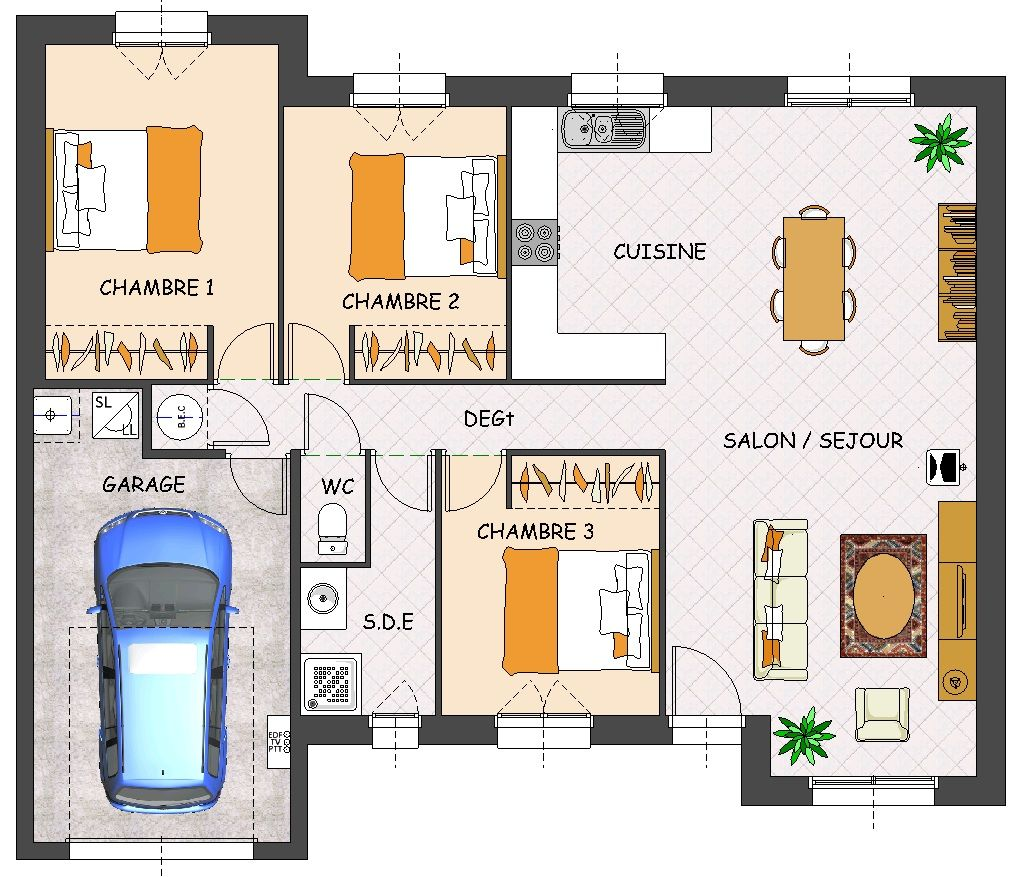 Plan de maison plain pied 3 chambres avec garage home for Plan maison 3 faces