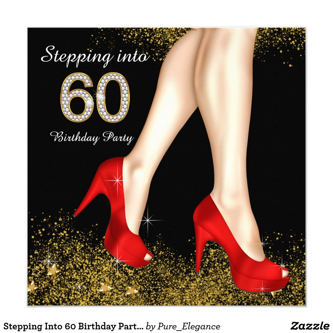 Stepping Into 60 Birthday Party Red Black and Gold Invitation ...