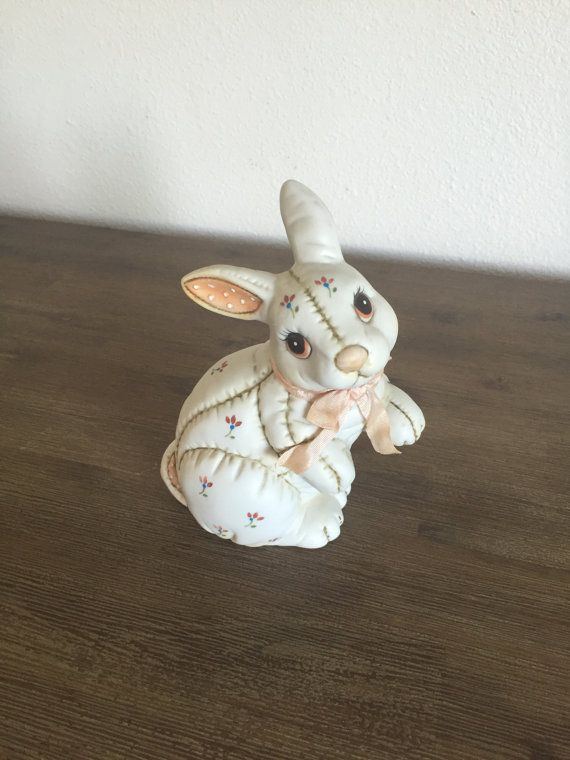 Vintage Lefton China rabbit figurine. Lovely hand painted Lefton China ceramic quilted bunny rabbit figurine. Rabbit has Lefton signature and date on bottom as well as orig...