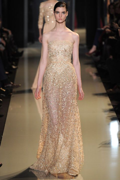 3 Gorgeous Golden Gowns From Elie Saab S Couture Show Which Would You Wear As Your Wedding Dress Dresses Formal Elegant Golden Gown Dresses