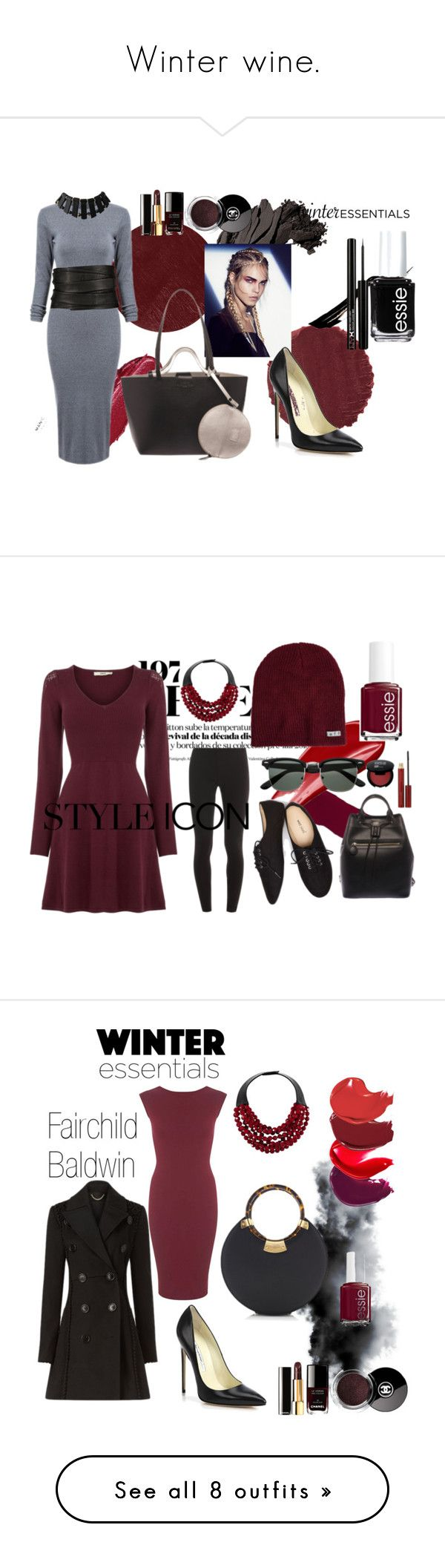 """""""Winter wine."""" by fairchild-baldwin ❤ liked on Polyvore featuring Urban Decay, Burberry, Bobbi Brown Cosmetics, Chanel, Brian Atwood, Essie, The Row, Fairchild Baldwin, Oasis and Hourglass Cosmetics"""