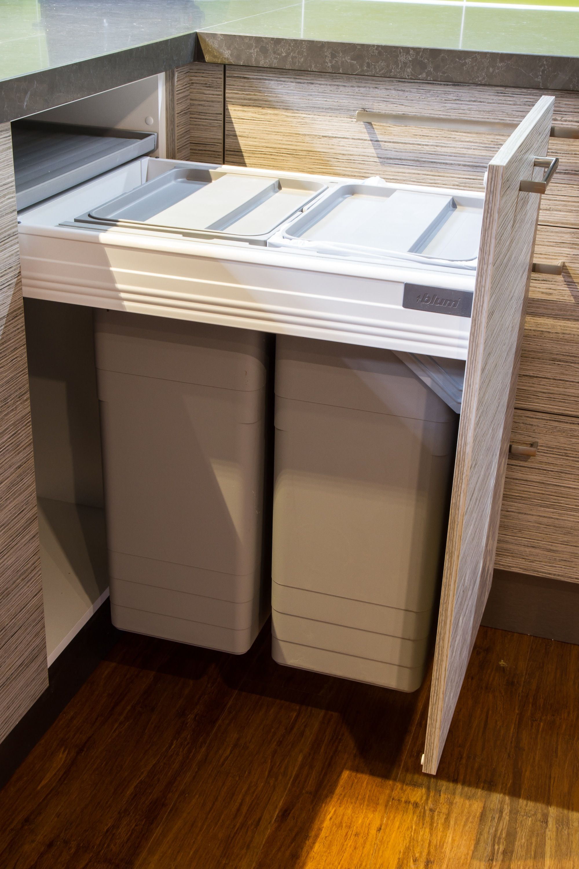 Superb Bin Drawer. Small Contemporary Kitchen. Hafele Bins. Blum Drawer Runner.  Www.