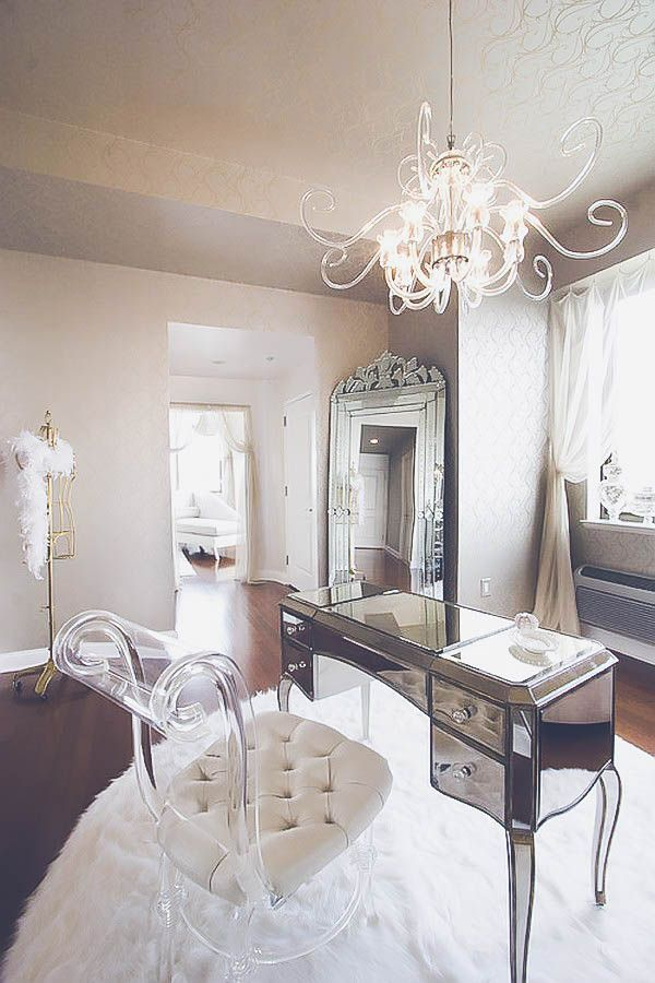 10 Ways To Make Your Living Room Extra Glam Feminine Home Offices Home Office Decor Home Office Design