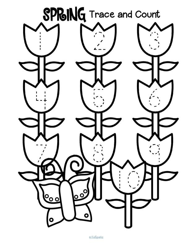 Spring trace and count to 10 preschool printables (3