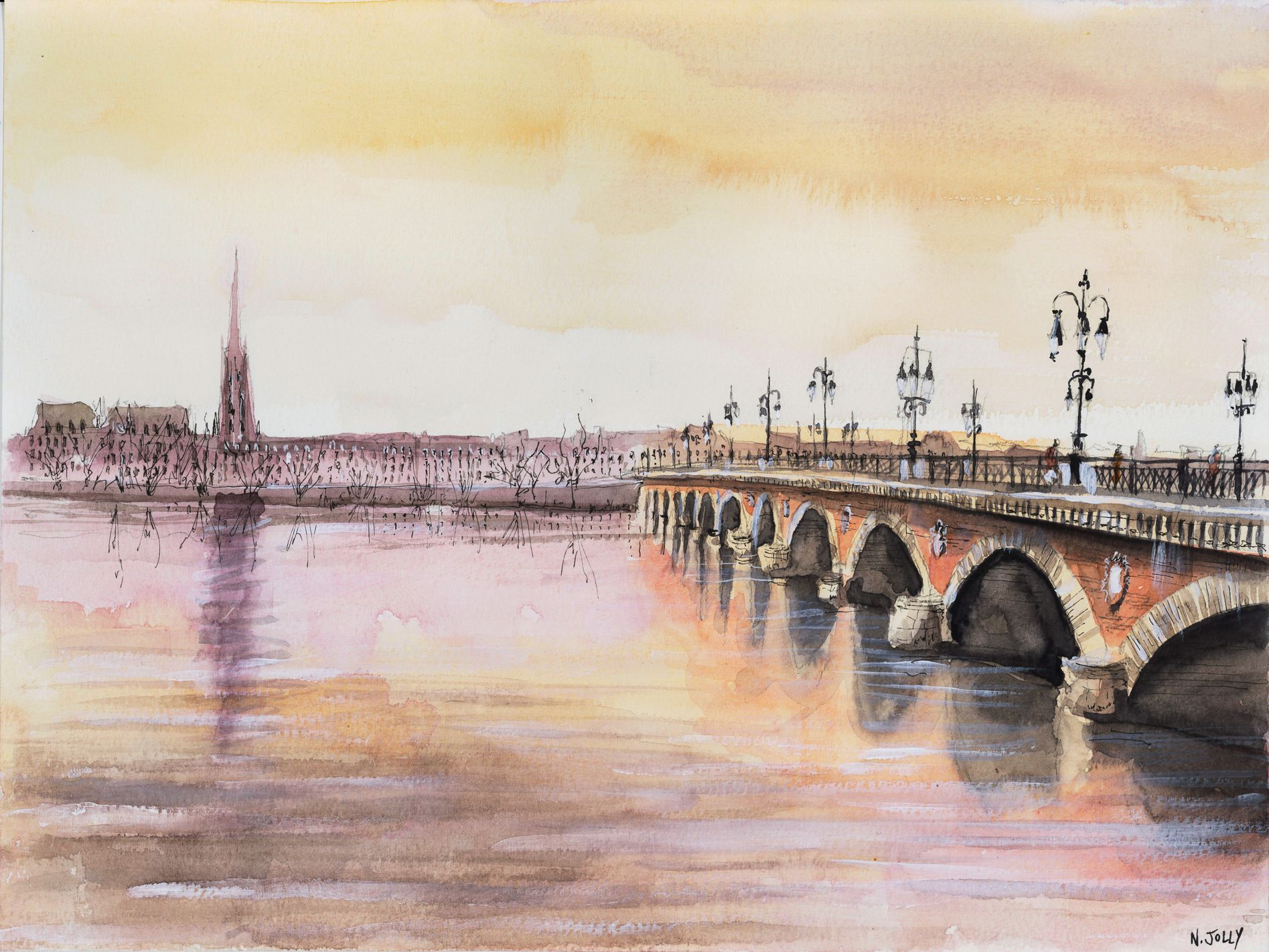 le pont de pierre bordeaux repr sent l 39 aquarelle dessins faire pinterest ponts. Black Bedroom Furniture Sets. Home Design Ideas