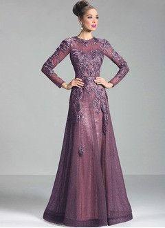 A-Line/Princess Scoop Neck Floor-Length Lace Evening Dress With Appliques Lace