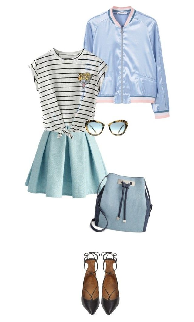 """XOXO"" by citresque ❤ liked on Polyvore featuring Chicwish, MANGO, Miu Miu, Aquazzura, INC International Concepts and stripedshirt"