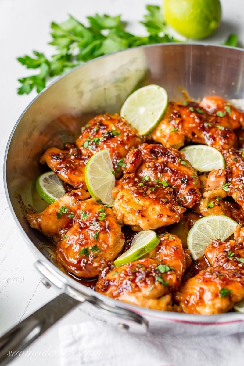 Spicy Honey Lime Chicken Thigh Recipe - Saving Room for Dessert