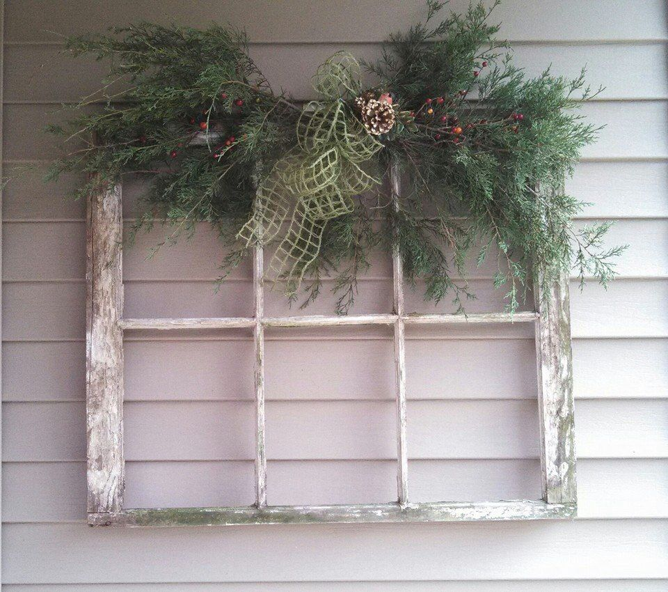 Vintage Window Frame With Cedar Swag Hung On Front Porch Christmas Swags Christmas Porch Decor Window Crafts