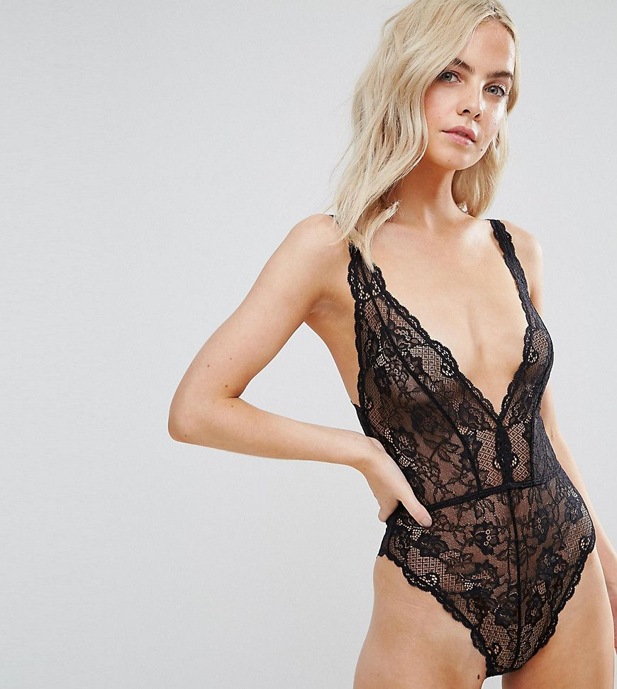 db5cf7216c08c DESIGN Petite Blair high leg lace body with lace up back in 2019 ...