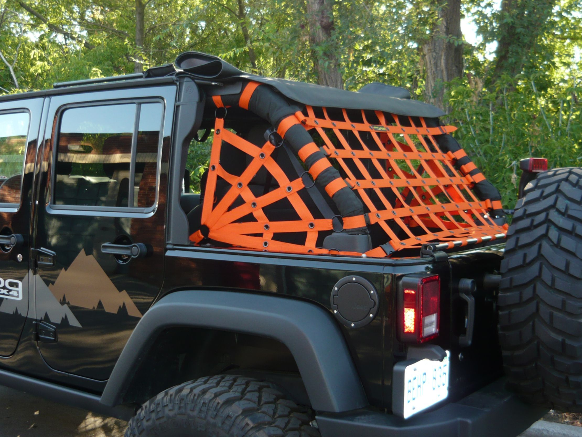 Dirtydog 4x4 Jeep Accessories Spider Netting For Jeep Wrangler Jk Unlimited 3pc Kit 2007 Up Rear Colors Orange Jeep Jeep Jeep Wrangler Jk