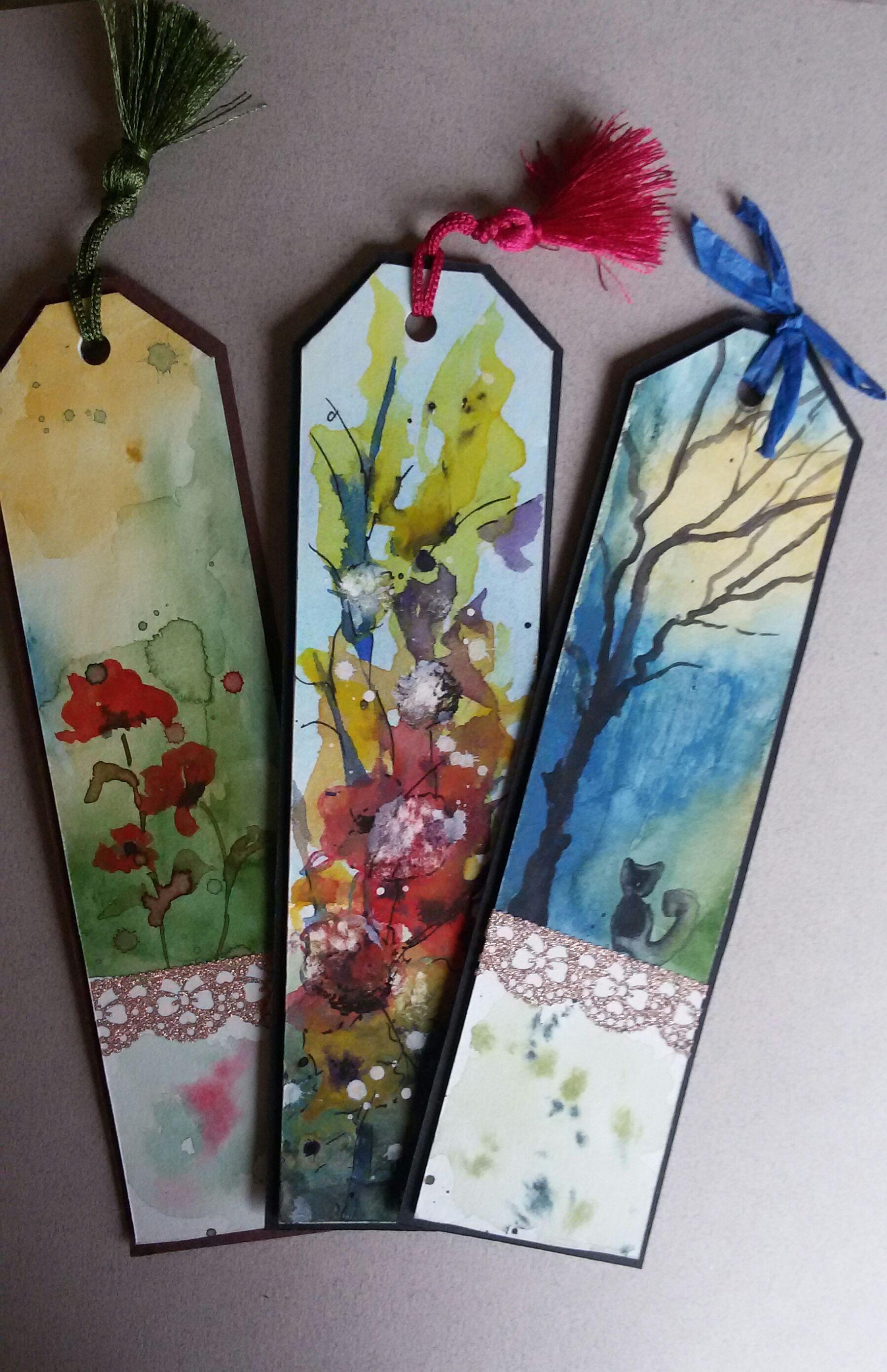 Watercolor bookmark patterns - Suluboya Kitap Ayra Lar Watercolor Original Handmade Bookmarks