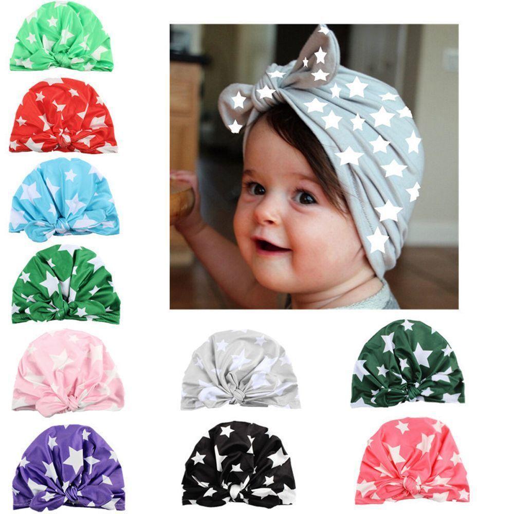 Soft Newborn Print Hat Pearl Flower Cap Baby Infant Elastic Beanie Girl Headband