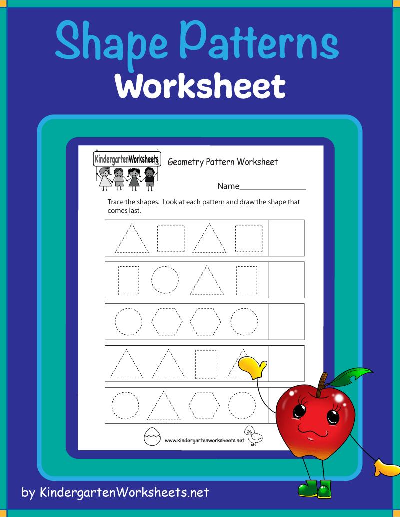 Shape Pattern Worksheets For Kindergarten