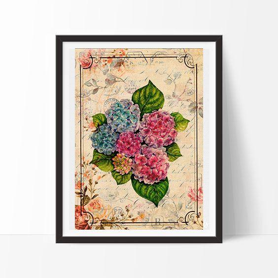 Flowers - Vintage, neo retro, Plants, Paris, fashion, print, home decor, poster, ancient, elegant-