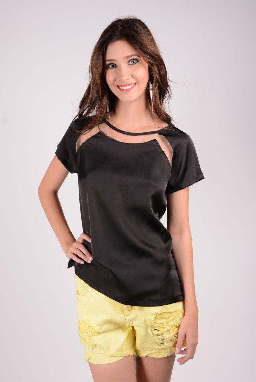 blusas femininas de tecido fino manga curta - Pesquisa Google
