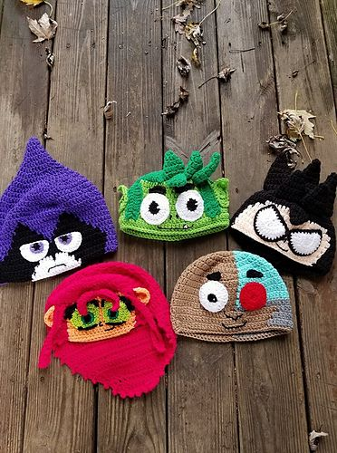 5d04dc29755 Ravelry  Teen Titans Go Hat Pattern Outline pattern by Hillary Thompson
