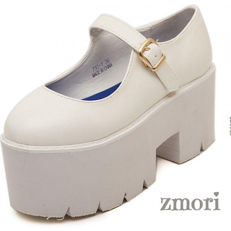 6ab9da40ea7 White Mary Jane Chunky Cleated Platforms Sole Flats Shoes