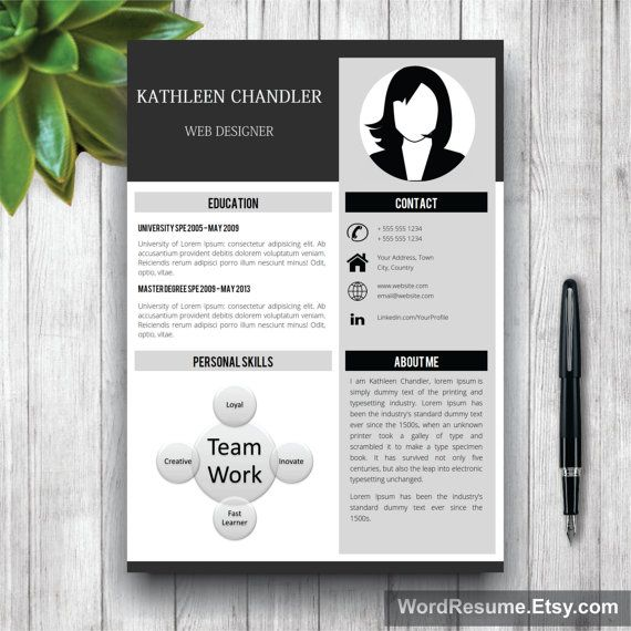 Professional Resume Template With Photo + Cover Letter   CV - clean resume template word